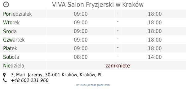 Viva Salon Fryzjerski Kraków Godziny Otwarcia 3 Marii Jaremy