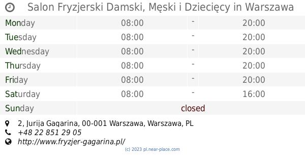 Salon Fryzjerski Damski Męski I Dziecięcy Warszawa Opening Times