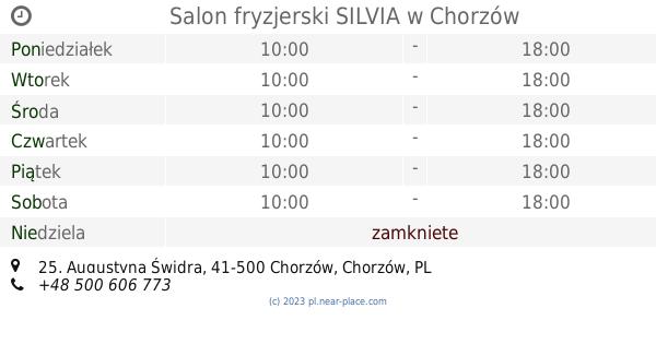 Salon Fryzjerski Silvia Chorzów Godziny Otwarcia 25 Augustyna