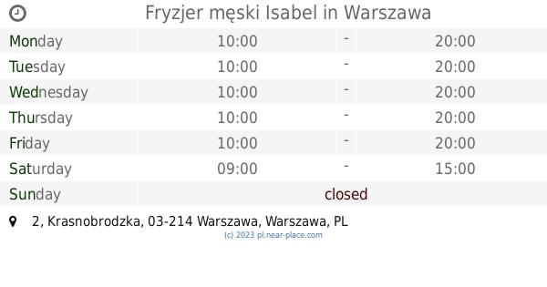 Fryzjer Męski Isabel Warszawa Opening Times 2 Krasnobrodzka